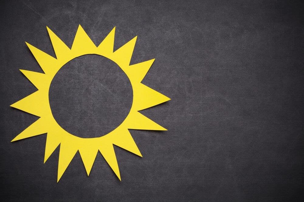 sun on blackboard