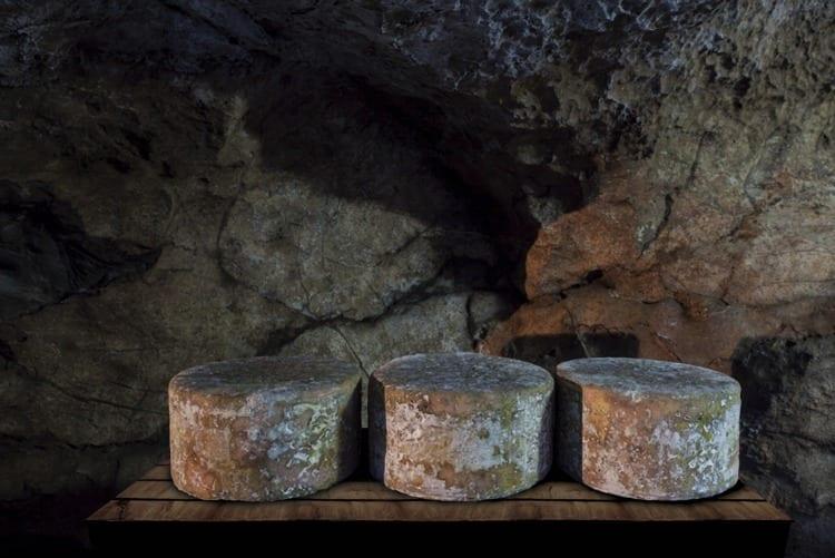 Tres quesos de cabrales en la Cueva del Molín de Central Lechera Asturiana