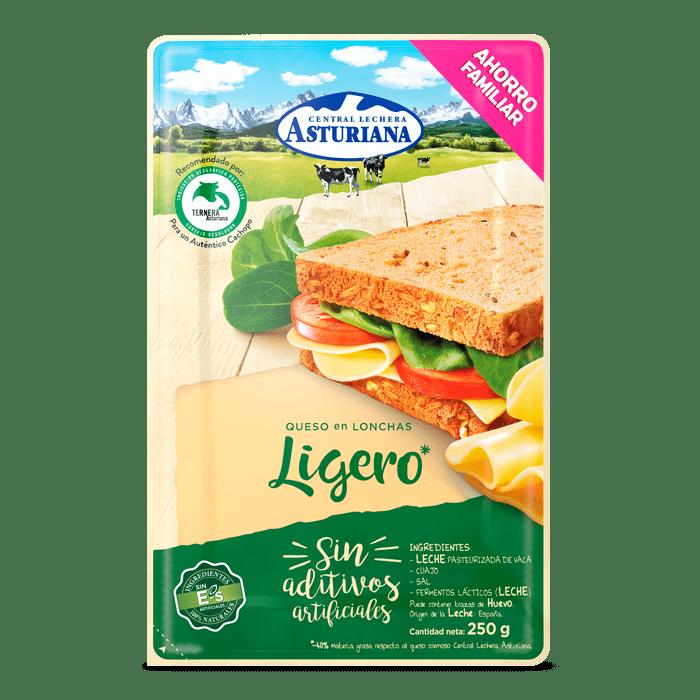 Queso en lonchas ligero Central Lechera Asturiana