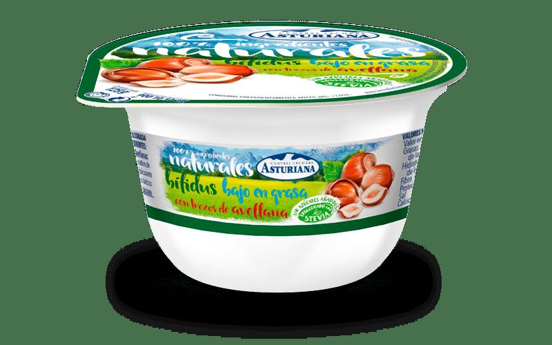 yogur natural con bifidus bajo en grasas con avellanas