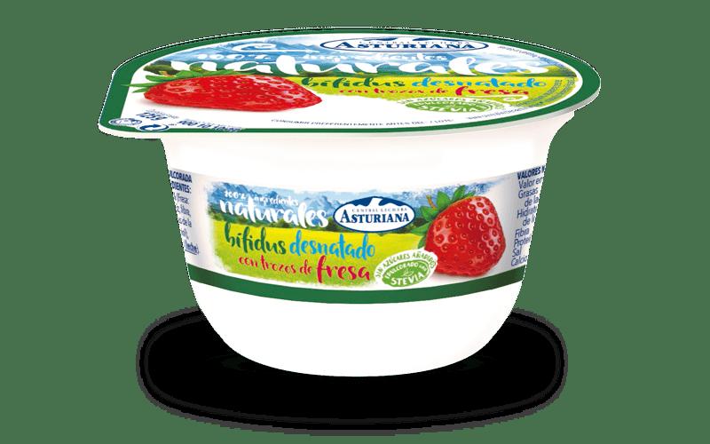 yogur natural desnatado con bifidus y fresas