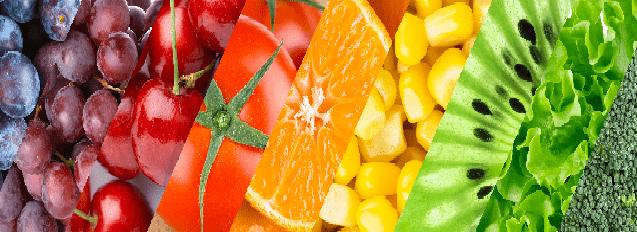 Composición de frutas y verduras
