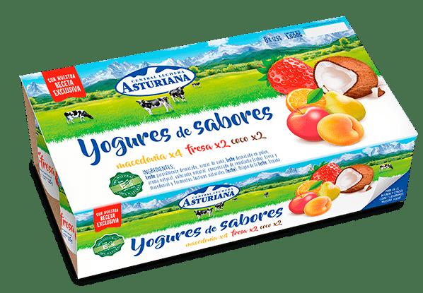 yogur de sabores macedonia, fresa y coco