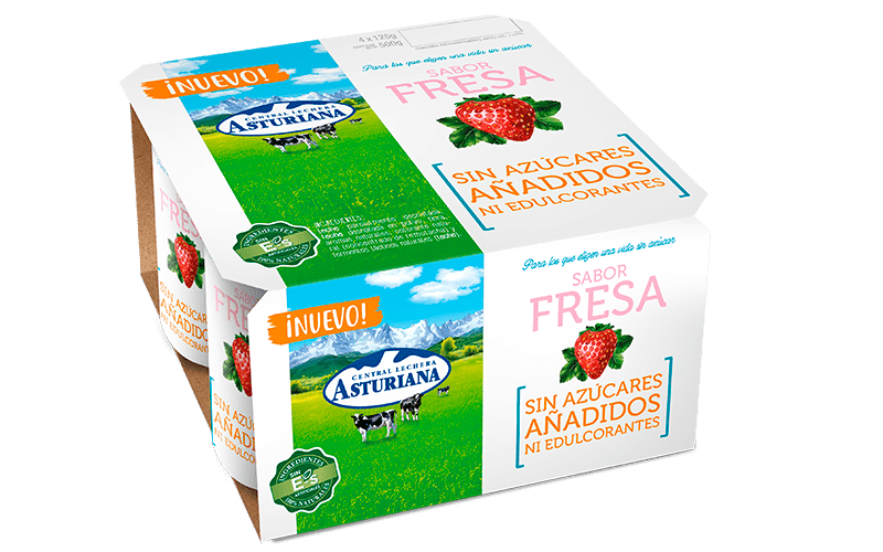 Yogur sabor fresa sin azúcares añadidos ni edulcorantes de Central Lechera Asturiana