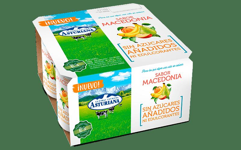 Yogur sabor macedonia sin azúcares añadidos ni edulcorantes de Central Lechera Asturiana