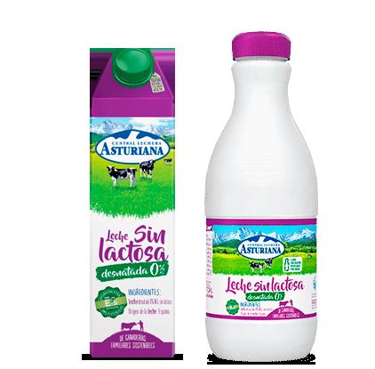 Leche sin lactosa desnatada Central Lechera Asturiana
